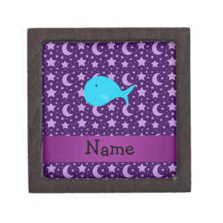 Personalized name turquoise whale purple stars premium jewelry boxes