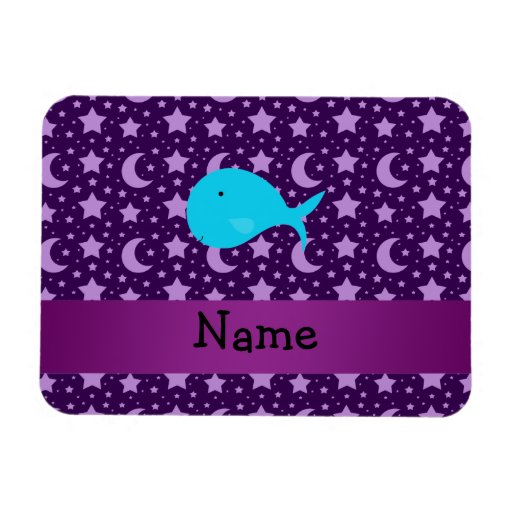 Personalized name turquoise whale purple stars rectangular photo magnet