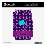 Personalized name turquoise whale purple stars iPhone 3 skin