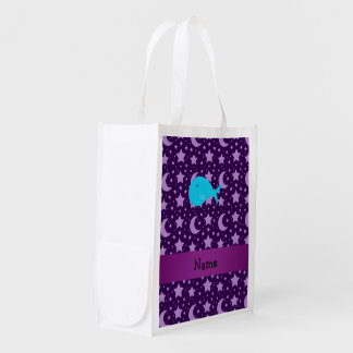 Personalized name turquoise whale purple stars grocery bag