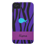 Personalized name turquoise whale purple zebra iPhone 4 covers
