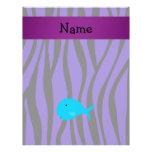 Personalized name turquoise whale purple zebra custom flyer