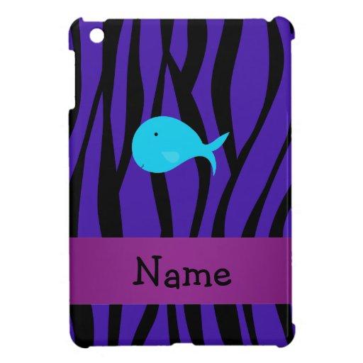 Personalized name turquoise whale purple zebra iPad mini case