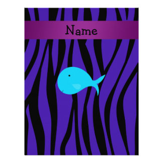 Personalized name turquoise whale purple zebra personalized letterhead
