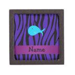 Personalized name turquoise whale purple zebra premium jewelry boxes