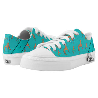 Personalized name turquoise Whippet dogs Low-Top Sneakers