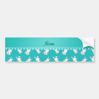 Personalized name turquoise white bunnies car bumper sticker