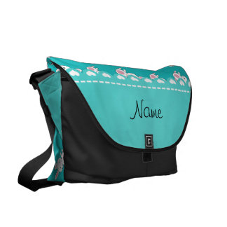 Personalized name turquoise white bunnies courier bag