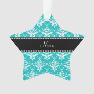 Personalized name turquoise white damask