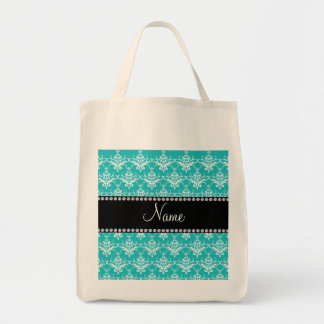 Personalized name turquoise white damask canvas bags
