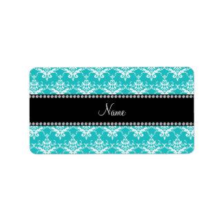 Personalized name turquoise white damask personalized address label