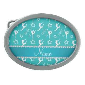 Personalized name turquoise white gymnastics stars belt buckles