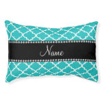 Personalized name turquoise white moroccan small dog bed