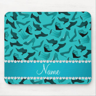 Personalized name turquoise women's shoes pattern mouse pad