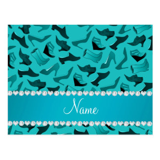 Personalized name turquoise women's shoes pattern postcard
