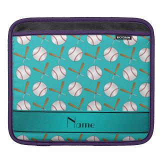 Personalized name turquoise wooden bats baseballs iPad sleeve