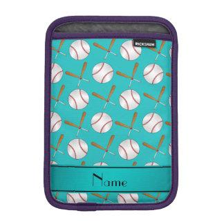 Personalized name turquoise wooden bats baseballs iPad mini sleeve