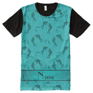 Personalized name turquoise wrestlers All-Over print t-shirt