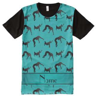 Personalized name turquoise wrestling silhouettes All-Over print t-shirt