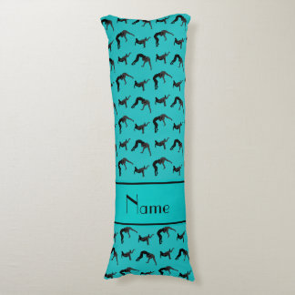 Personalized name turquoise wrestling silhouettes body pillow
