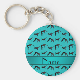 Personalized name turquoise wrestling silhouettes keychain