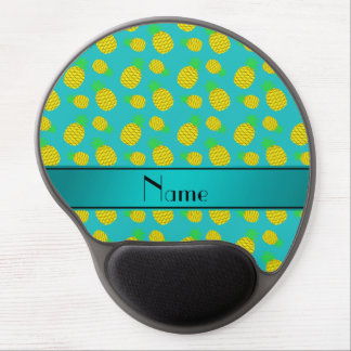 Personalized name turquoise yellow pineapples gel mouse pad