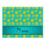 Personalized name turquoise yellow pineapples postcards