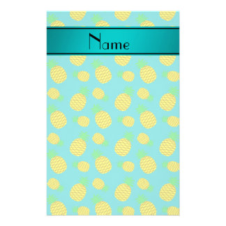 Personalized name turquoise yellow pineapples custom stationery