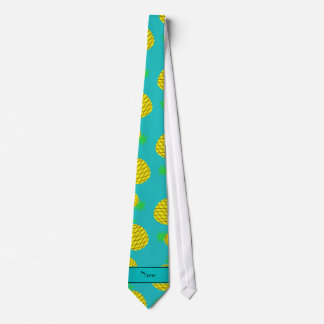 Personalized name turquoise yellow pineapples tie