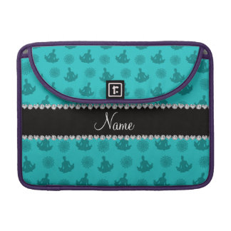 Personalized name turquoise yoga pattern sleeve for MacBook pro
