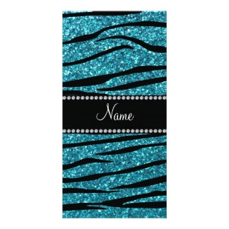 Personalized name turquoise zebra stripes card