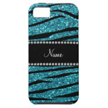 Personalized name turquoise zebra stripes iPhone 5 covers