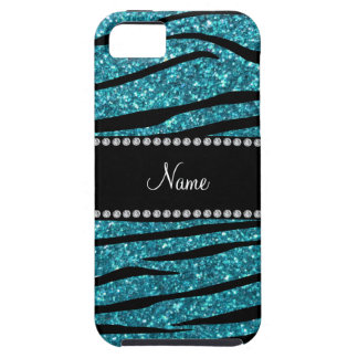 Personalized name turquoise zebra stripes iPhone SE/5/5s case