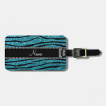 Personalized name turquoise zebra stripes travel bag tags