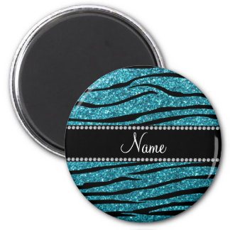 Personalized name turquoise zebra stripes magnet
