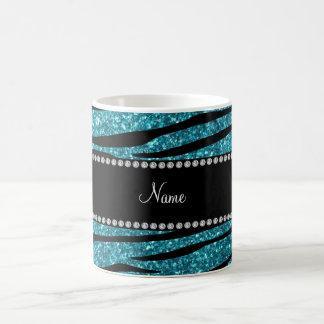 Personalized name turquoise zebra stripes mug
