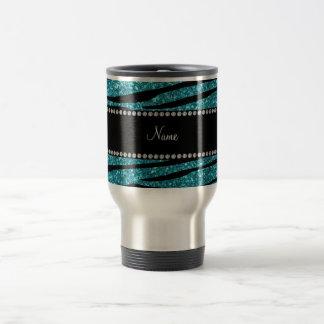 Personalized name turquoise zebra stripes travel mug