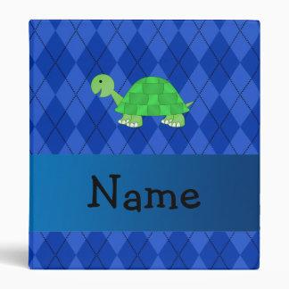 Personalized name turtle blue argyle 3 ring binder