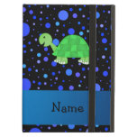 Personalized name turtle blue polka dots iPad case