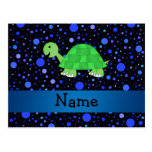 Personalized name turtle blue polka dots postcard