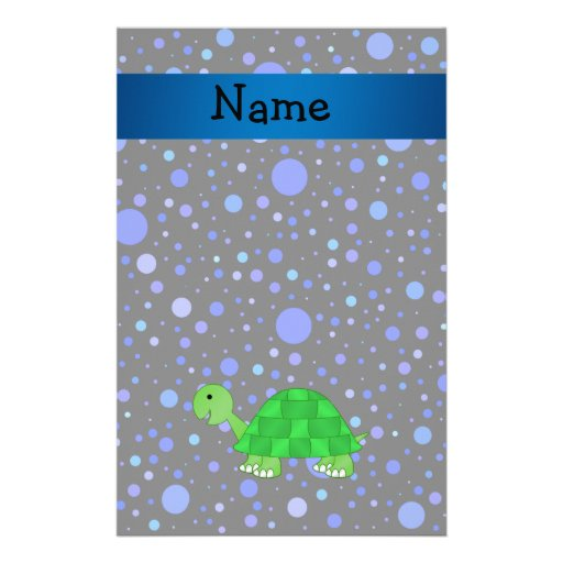 Personalized name turtle blue polka dots stationery paper