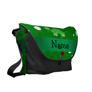 Personalized name turtle christmas polka dots messenger bags
