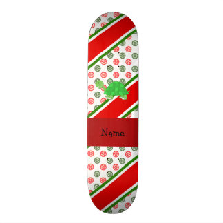 Personalized name turtle christmas polka dots skate board deck