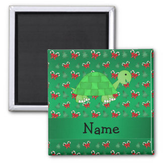 Personalized name turtle green candy canes bows 2 inch square magnet