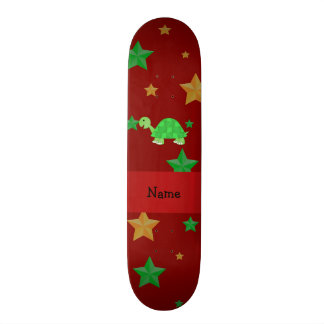 Personalized name turtle green gold stars skate deck