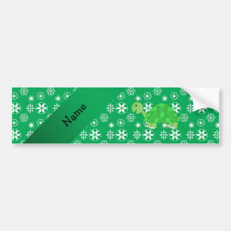 Personalized name turtle green snowflakes pattern car bumper sticker