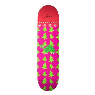 Personalized name turtle pink green christmas tree skate decks