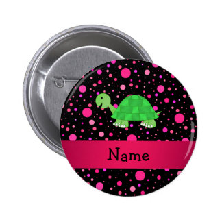 Personalized name turtle pink polka dots pin