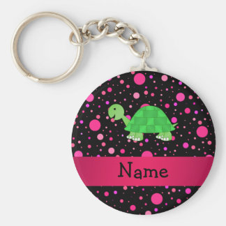 Personalized name turtle pink polka dots keychain