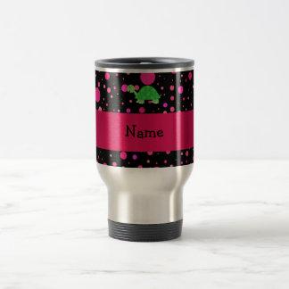 Personalized name turtle pink polka dots travel mug